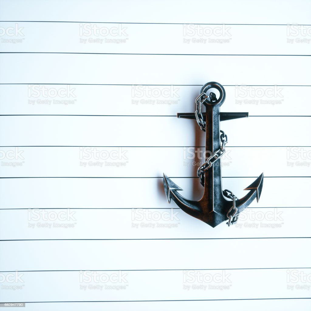 Vintage Iron anchor on a background of white painted wood 3d render royalty-free stock photo