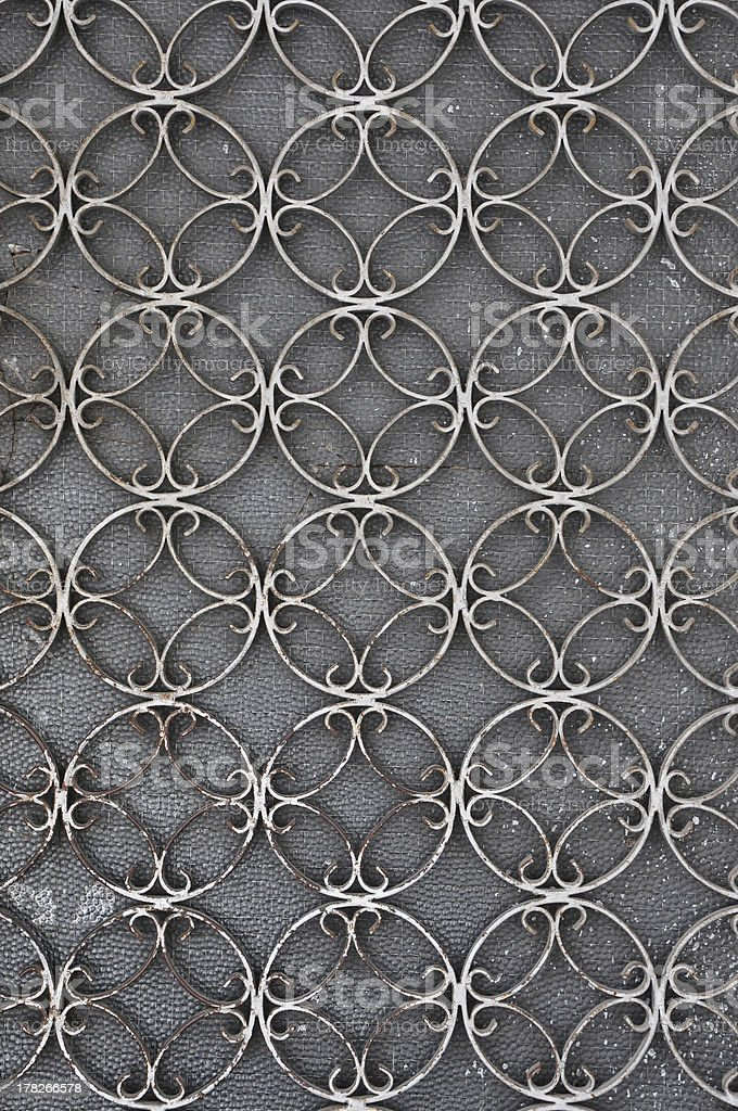 vintage iron door with circles pattern stock photo