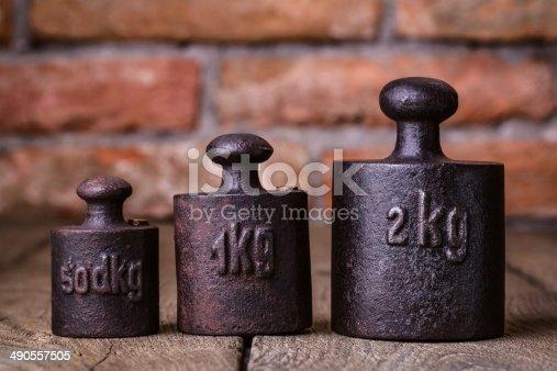 istock Vintage iron weights. 490557505