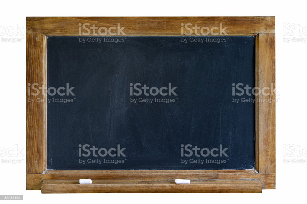 Vintage Isolated Black Chalkboard with Wood Frame and Chalk Ledge royalty-free stock photo