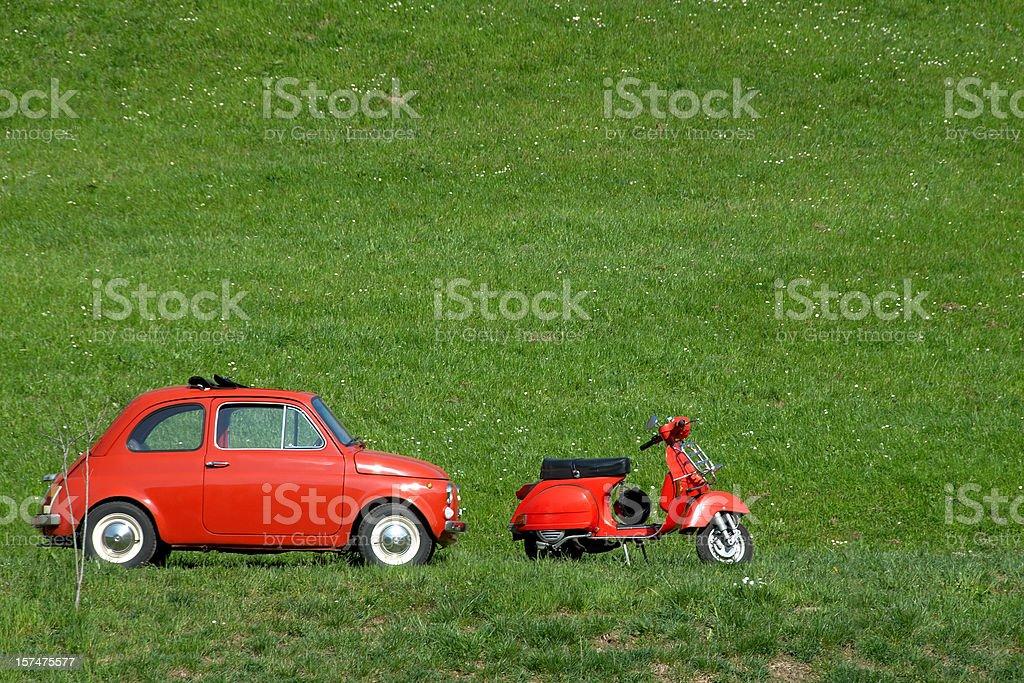 Vintage Italian car & bike stock photo