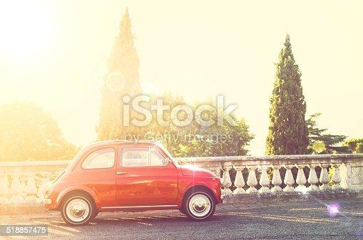 Vintage Italian car in sunbeam