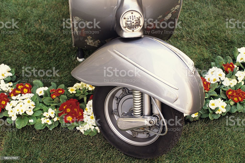 Vintage Italian scooter on grass and flowerbed royalty-free stock photo