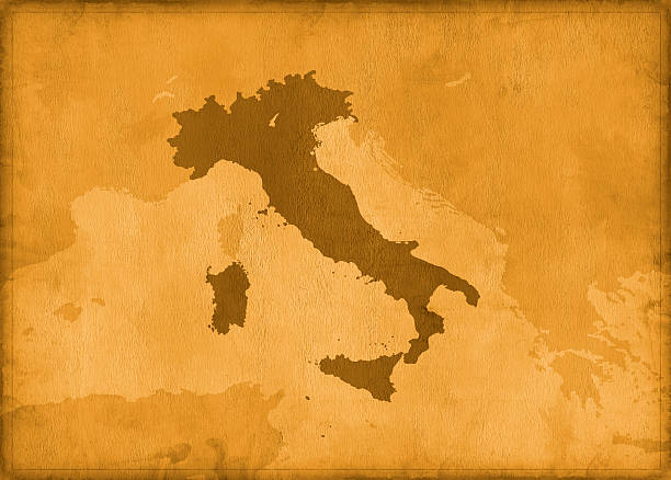 vintage italy map - italy map stock photos and pictures