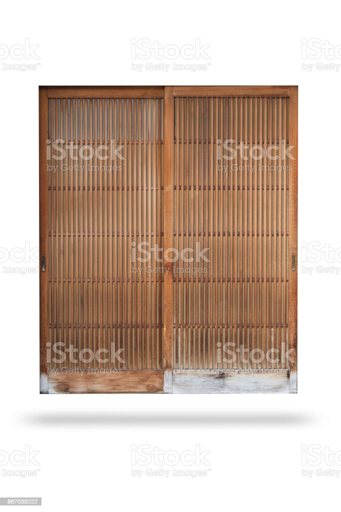 vintage japan bamboo wood door sliding isolated on white with clipping path stock photo