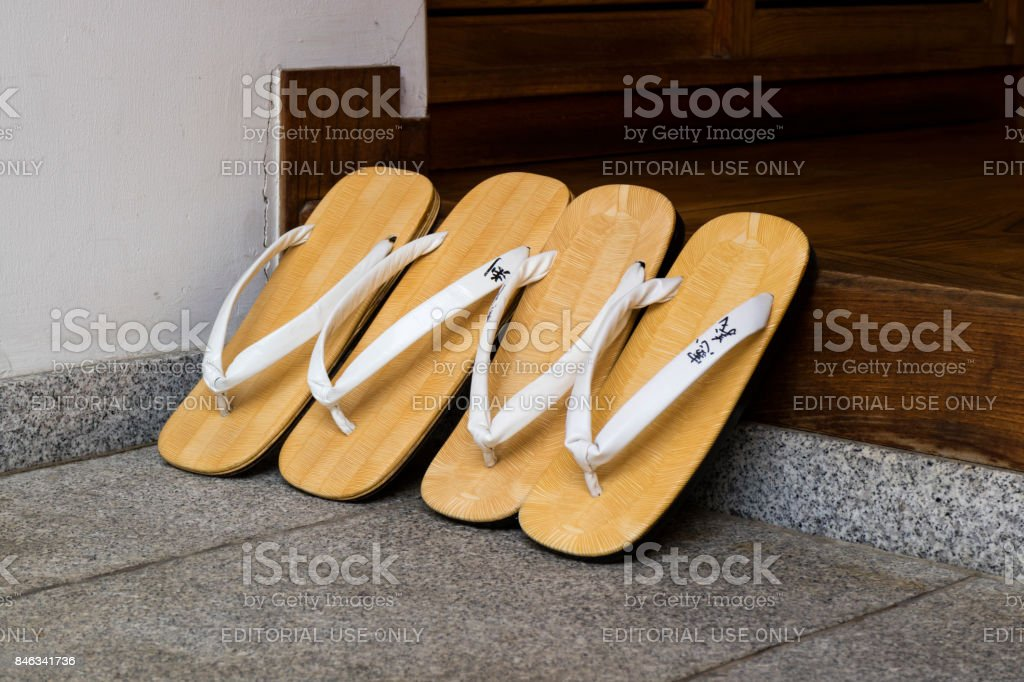 Japan - June 3, 2017: Vintage Japanese slippers with names stock photo