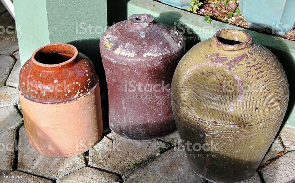 vintage jars stock photo