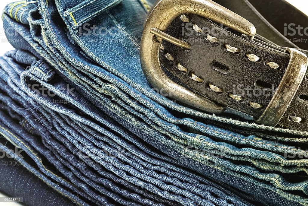 Vintage jeans and leather belt royalty-free stock photo
