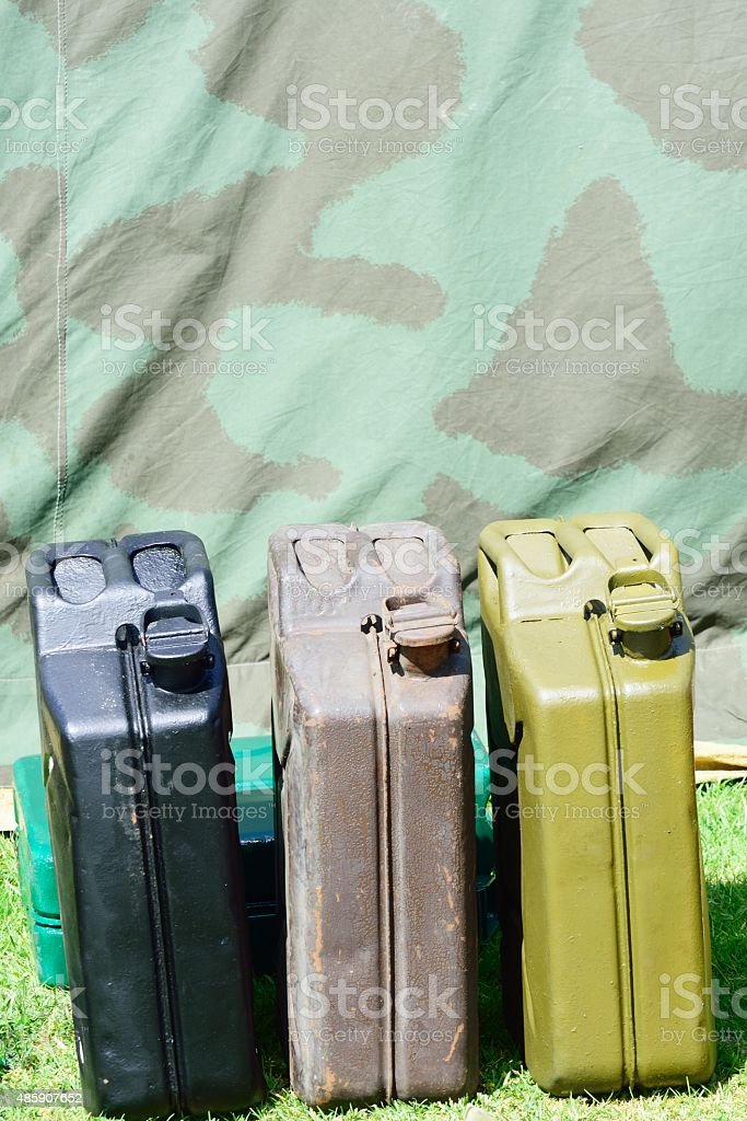 Vintage  jerry cans stock photo