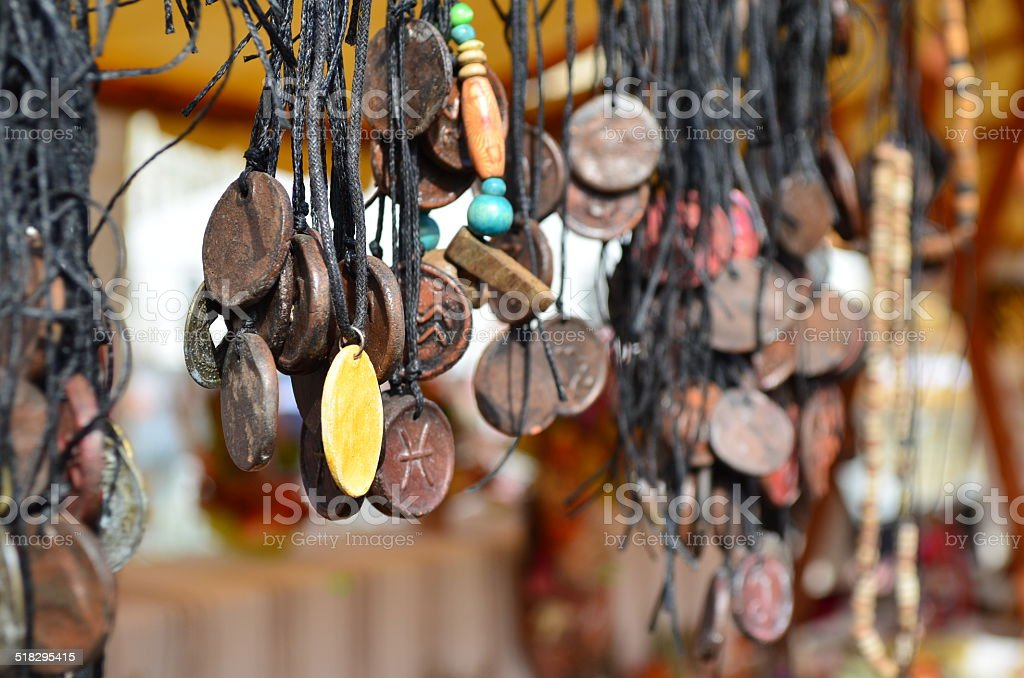 Vintage jewelry necklaces for sale at an outdoor market stock photo