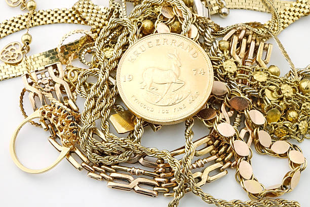 Vintage jewelry with gold coin stock photo