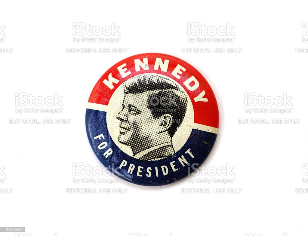 Vintage John F. Kennedy political campaign button royalty-free stock photo