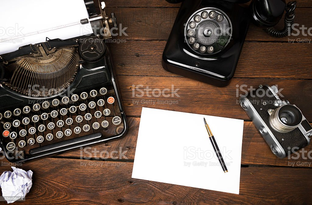 Vintage journalist Desk from Above stock photo
