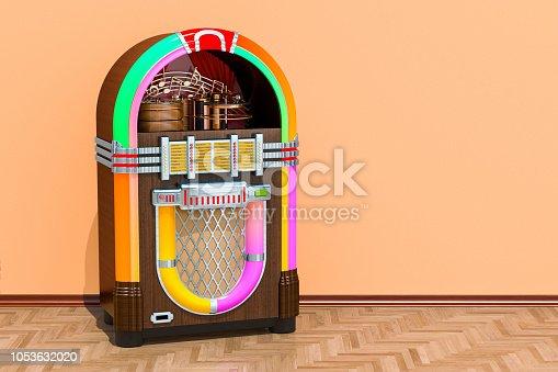 istock Vintage jukebox in room on the wooden floor, 3D rendering 1053632020