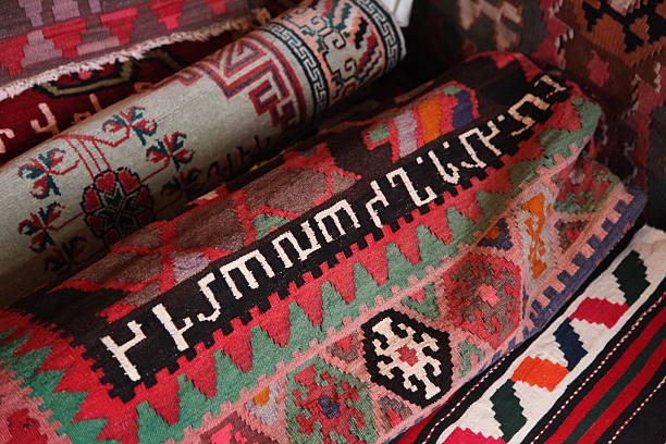Vintage Karabakh carpets stock photo