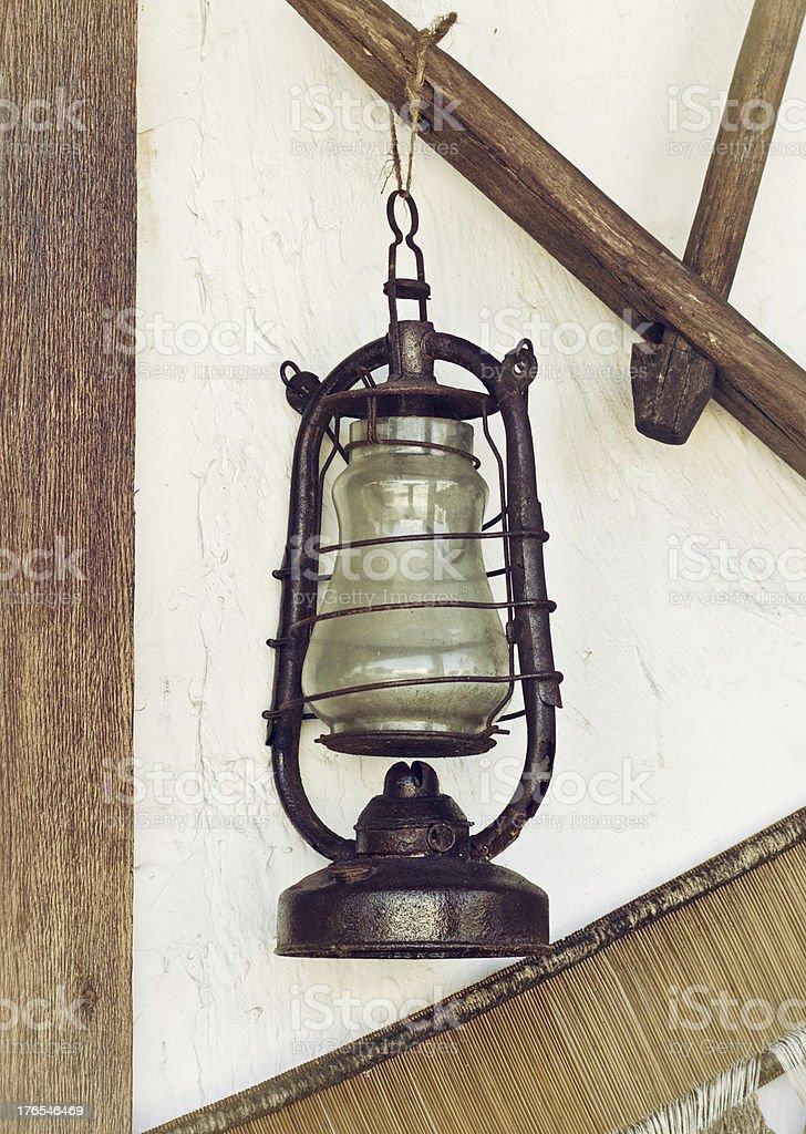 vintage kerosene lantern stock photo