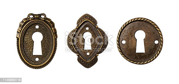 Vintage keyholes collection as decorative design elements isolated on white background
