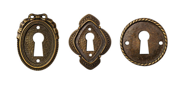 vintage nyckel håls kollektion som dekorativa design element - ancient white background bildbanksfoton och bilder