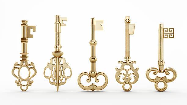 vintage schlüssel - schlüssel dekorationen stock-fotos und bilder