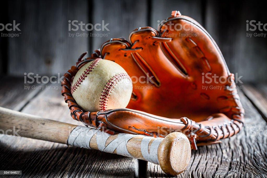 Vintage Kit to play baseball stock photo