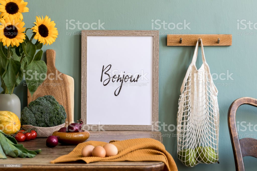 Vintage Kitchen Interior With Wooden Table Bag With Apples Fruits Vegetables Sunflowers And Kitchen Accessories Minimalistic Concept Of Kitchen Space Template Mock Up Picture Frame Ready Stock Photo Download Image Now