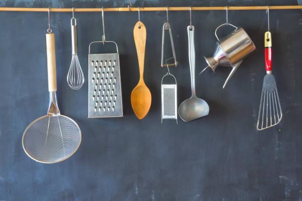 vintage kitchen utensils, cooking, food and drink, culinary concept. - przybór kuchenny zdjęcia i obrazy z banku zdjęć