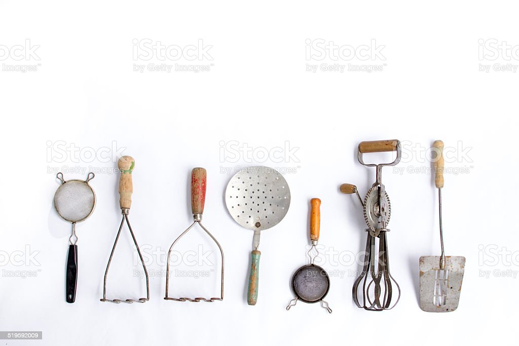 Vintage Kitchen Utensils In A Row Royalty Free Stock Photo
