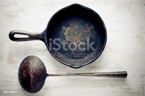 Vintage iron cast skillet and scoop.More object images: