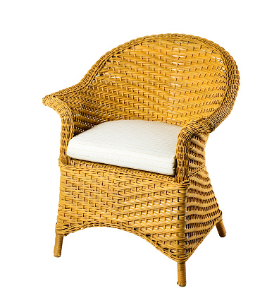 Wicker chair isolated on white background. Clipping path.