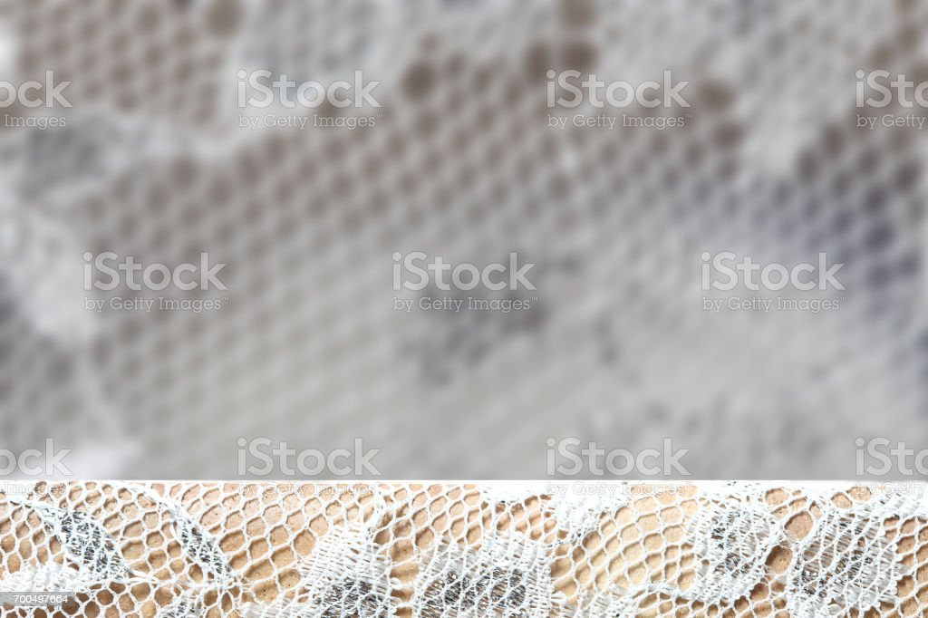 Vintage lace with silver thread glitter decorative and net fiber stock photo
