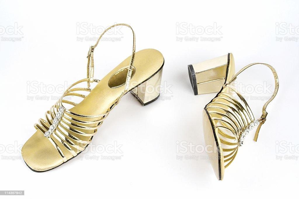 Vintage Ladies Gold Sandals royalty-free stock photo