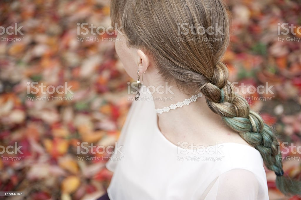 Vintage Lady With Hair Plait in Autumn stock photo