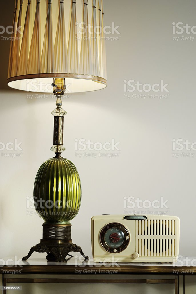 Vintage lamp and radio royalty-free stock photo