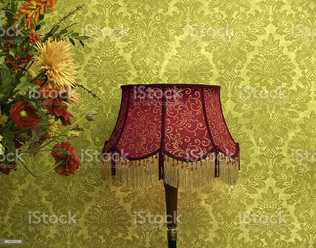 Vintage Lamp and Wallpaper royalty-free stock photo