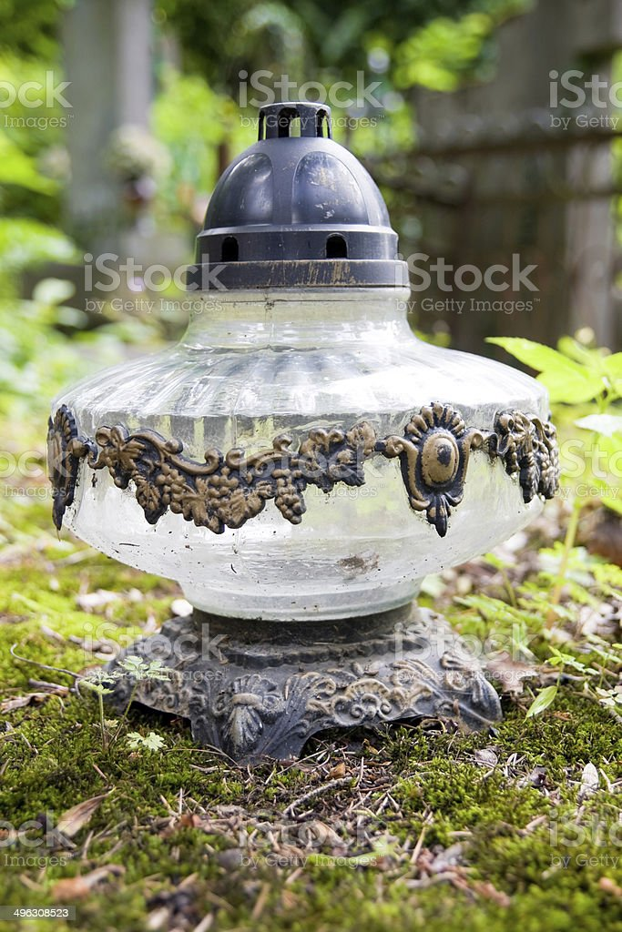 Vintage lamp on cemetery royalty-free stock photo