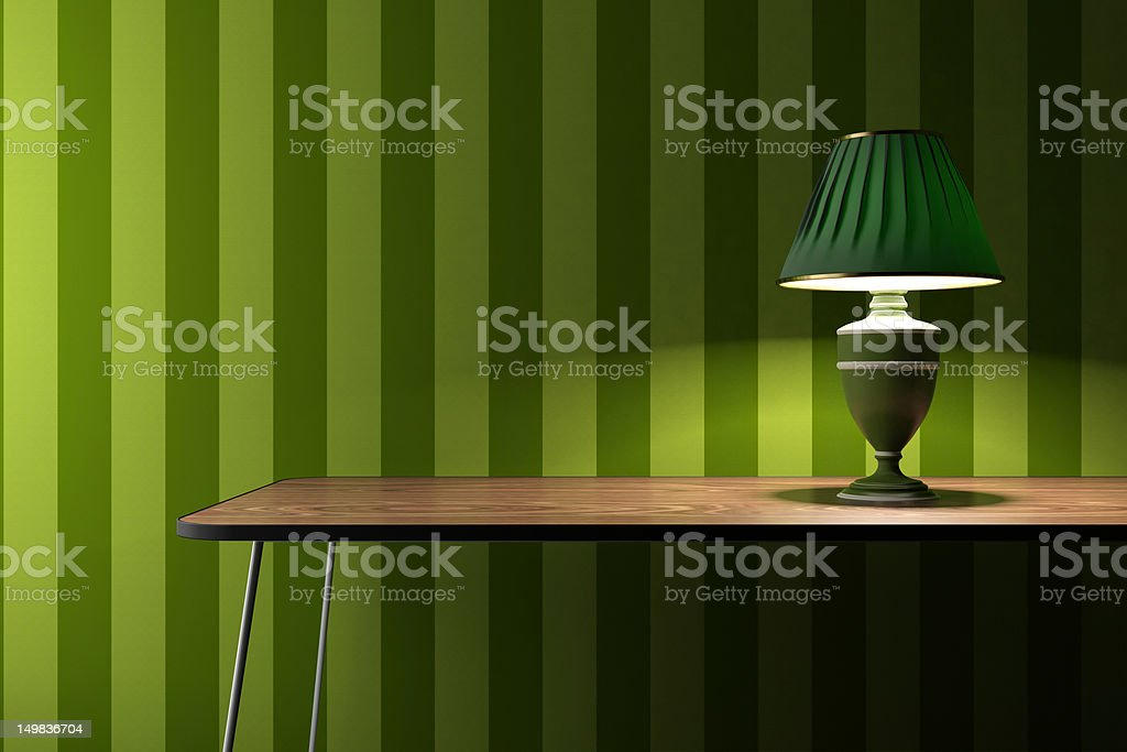 Vintage lamp on green wallpaper background royalty-free stock photo