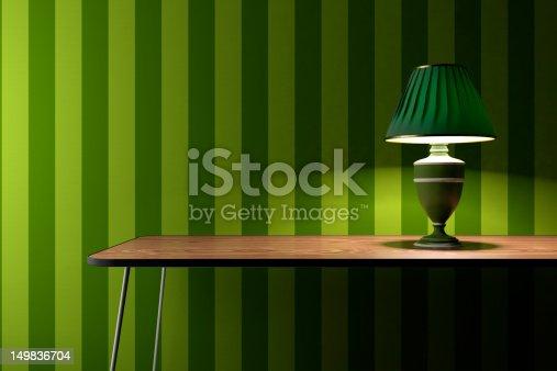 181053292istockphoto Vintage lamp on green wallpaper background 149836704