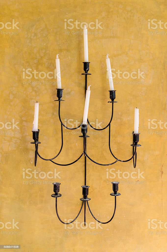 Vintage lamp on the wall stock photo