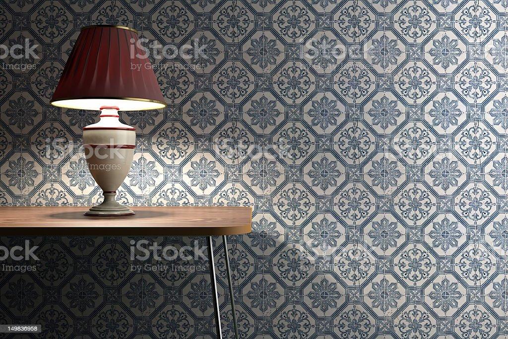 Vintage lamp on tiles background stock photo