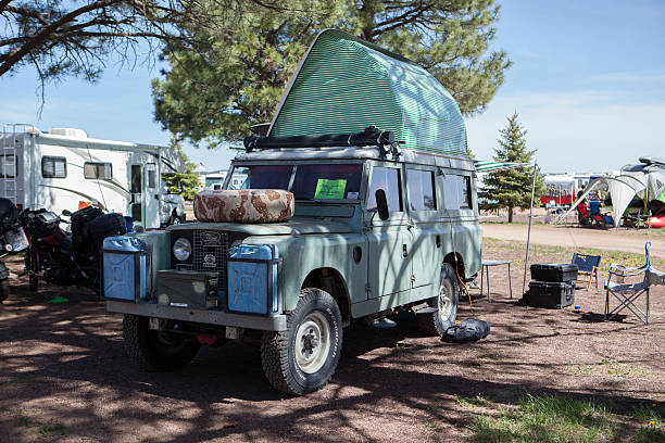 Vintage Land Rover at the Overland Expo stock photo