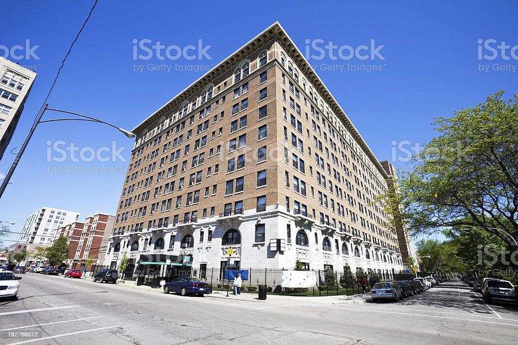 Vintage Landmark Hotel Building in Edgewater, Chicago royalty-free stock photo