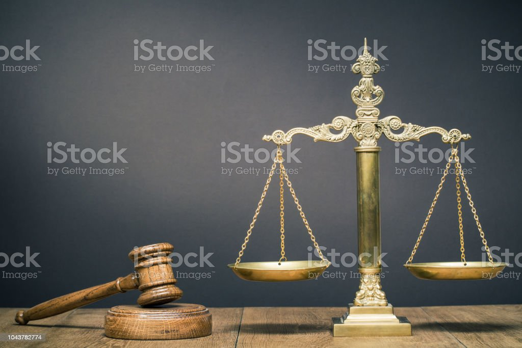 Vintage Law Scales And Wooden Gavel On The Desk Front Dark