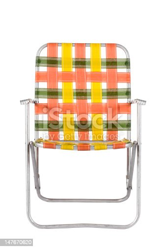 Orange and green strapped aluminum lawn chair like your parents used to have. Isolated on white.