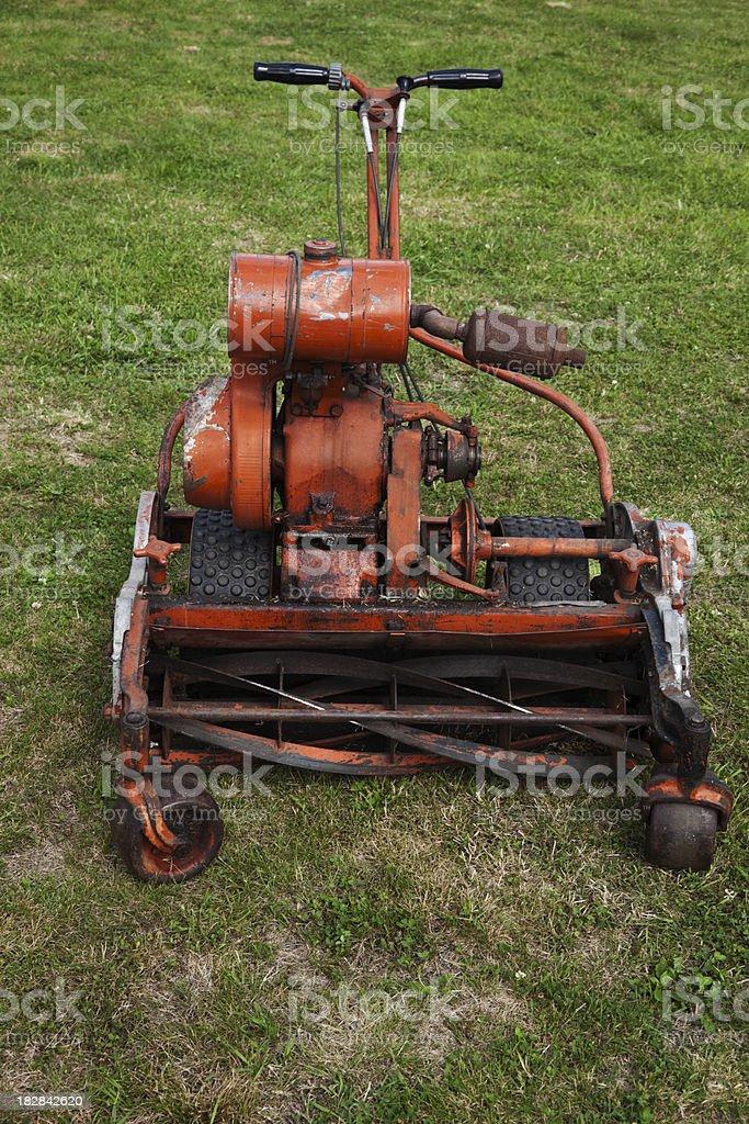 Vintage lawn mower. stock photo