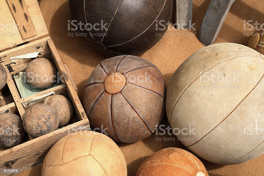 Vintage Leather Balls stock photo