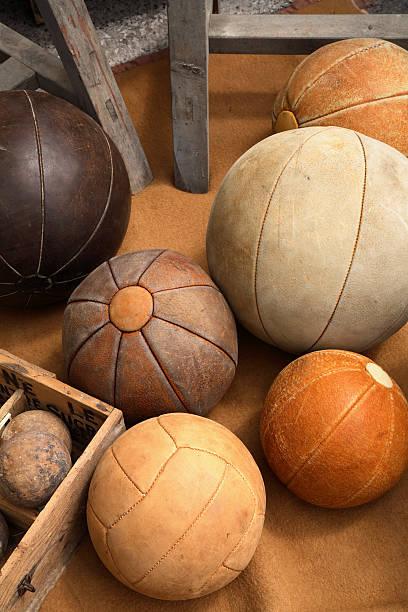 Vintage Leather Balls stock photo