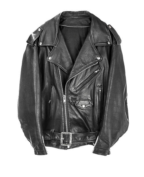 Vintage Leather biker jacket isolated on white Vintage Leather biker jacket isolated on white leather jacket stock pictures, royalty-free photos & images