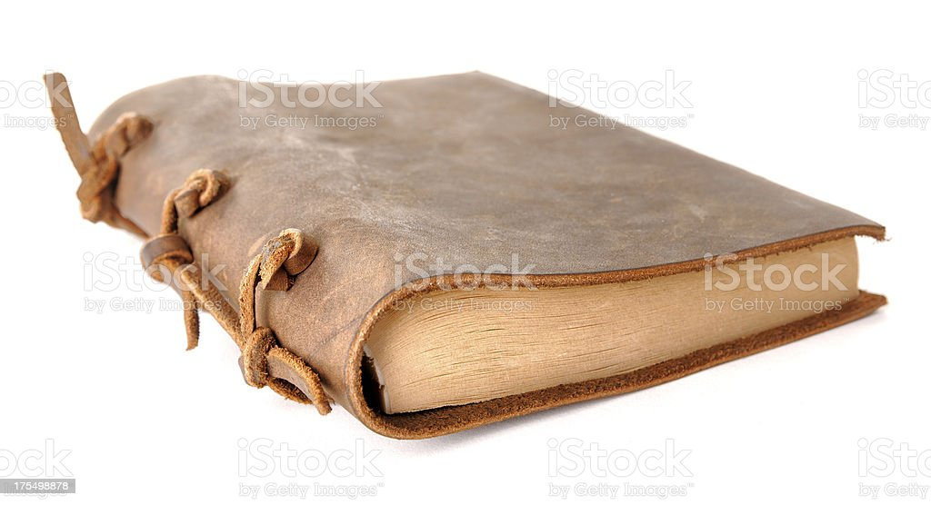 Vintage leather book on white background stock photo
