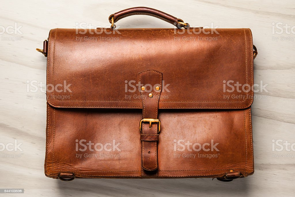 Vintage Leather Briefcase stock photo
