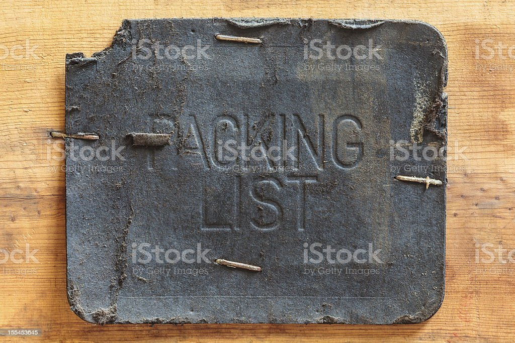 Vintage leather packing list label royalty-free stock photo
